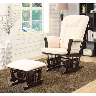 Paola Beige Microfiber Espresso Wood Glider Chair and Ottoman Set