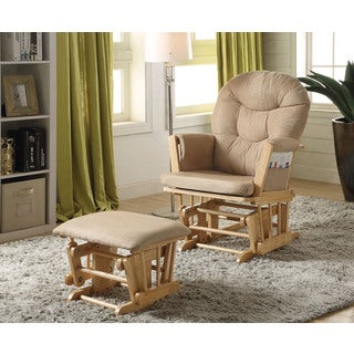 Rehan Taupe Microfiber Natural Oak Glider Chair and Ottoman (Set of 2)