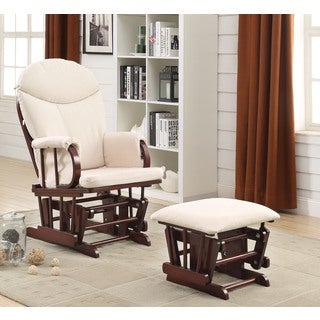 Raul Beige Microfiber Cherry Glider Chair and Ottoman (Set of 2)