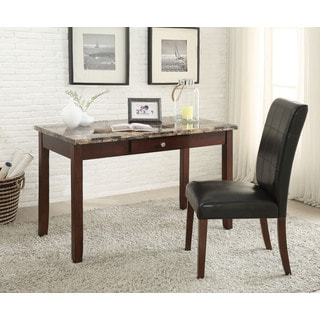 Sydney Brown Faux Marble and Dark Walnut 2-piece Desk and Chair Set