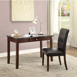 Sydney Black Faux Marble Dark Walnut 2-piece Desk and Chair Set