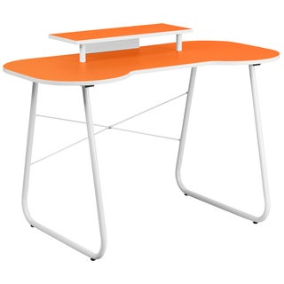 Orange Top Office Computer Desk with Monitor Platform and White Frame