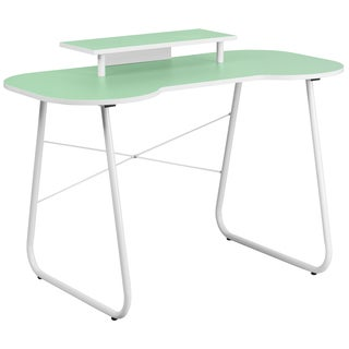 Green Top Office Computer Desk with Monitor Platform and White Frame