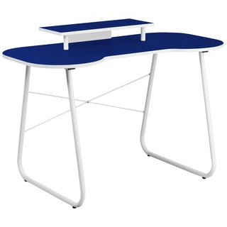 Powder-coated Laminate/Metal Navy Blue Top Office Computer Desk with Monitor Platform and White Frame