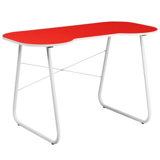 Powder-coated Laminate/Metal Red Top White Frame Office Computer Writing Desk
