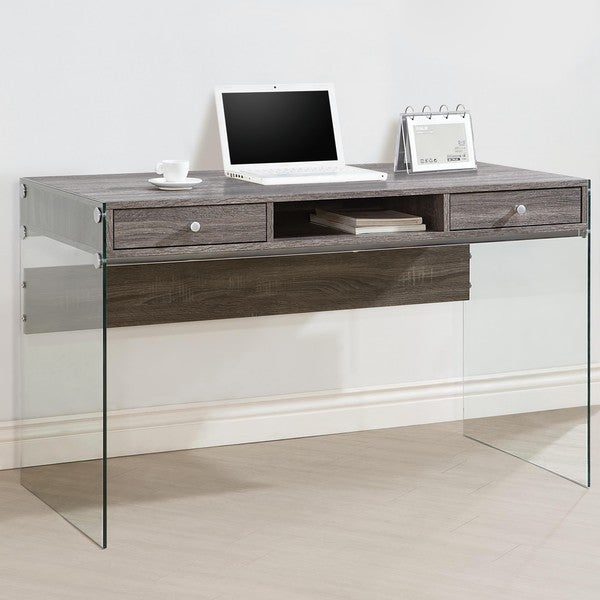 Contemporary Modern Style Glass Home Office Weathered Grey Computer