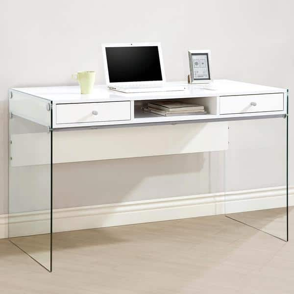 Shop Contemporary Modern Style Glass Home Office Glossy ...