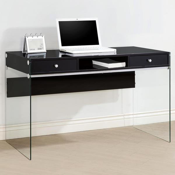 Contemporary modern style glass home office glossy black computer writing desk with drawers - New contemporary home office furniture style ...