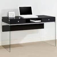 Contemporary Modern Style Glass Home Office Glossy Black Computer/ Writing Desk with Drawers