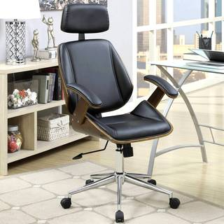 Mid-century Modern Bentwood Adjustable Office Chair with Padded Headrest and Armrest