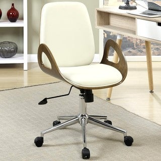 Modern Curved Wood Upholstered Adjustable Swivel Office Chair