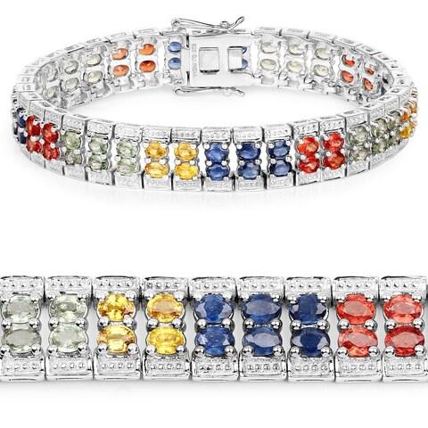 Malaika .925 Sterling Silver 16.72 ct Genuine Multi Sapphire Bracelet