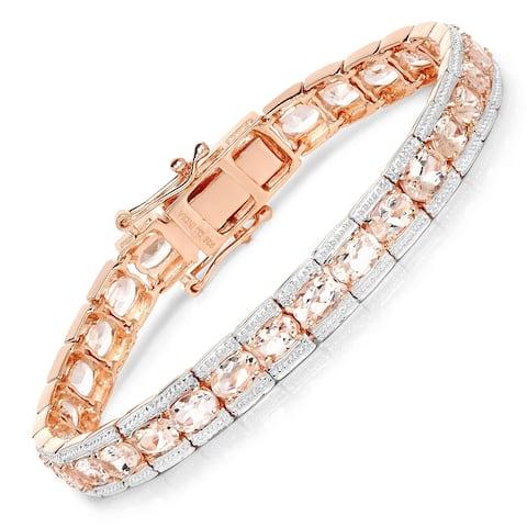 Malaika Rose plated .925 Sterling Silver 11.61-carat Genuine Morganite Bracelet - Pink