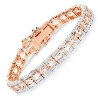 Malaika Rose Plated 925 Sterling Silver 11 61 Carat Genuine Morganite Bracelet Pink