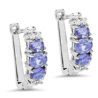 Malaika 0.925 Sterling Silver 1.52 ct Genuine Tanzanite and White Topaz Earrings