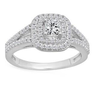 14k Gold 1ct TDW Princess and Round-cut White Diamond Split Shank Halo Bridal Engagement Ring (I-J, I1-I2)