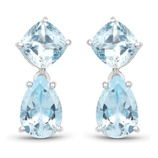 Malaika .925 Sterling Silver 11.60-carat Genuine Blue Topaz Earrings