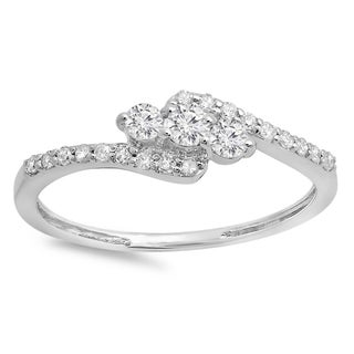 Elora 14k Gold 1/3ct TDW Round Diamond Swirl Engagement 3-stone Bridal Ring (H-I, I1-I2)