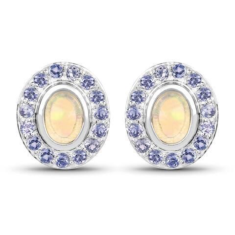 Malaika .925 Sterling Silver 2.01-carat Genuine Ethiopian Opal and Tanzanite Earrings