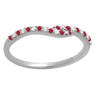 Elora 14k Gold 1/5-carat Round-cut Red Ruby and White Diamond Anniversary Wedding Band Guard Ring