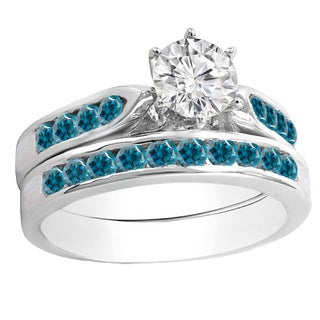 14k Gold 1ct TDW Round Blue and White Diamond Bridal Engagement Ring Set With Matching Band