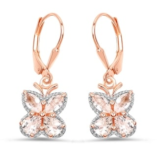 Malaika 18k Rose Gold-plated 0.925 Sterling Silver 1.88-carat Genuine Morganite Earrings