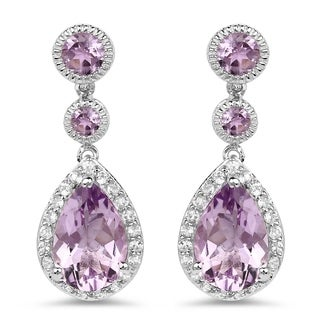 Malaika .925 Sterling Silver 7.16-carat Genuine Pink Amethyst and White Topaz Earrings