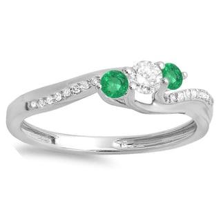14k White Gold 1/2-carat Round Green Emerald and White Diamond 3-stone Swirl Bridal Engagement Ring
