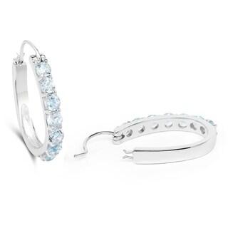 Malaika .925 Sterling Silver 4.48-carat Genuine Blue Topaz Earrings