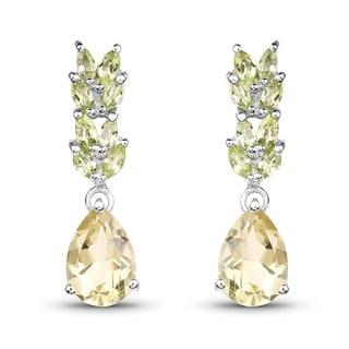 Malaika 0.925 Sterling Silver 5/18-carat Genuine Lemon Topaz and Peridot Earrings