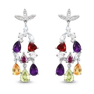Malaika .925 Sterling Silver 5.76-carat Genuine Multi-stone Earrings