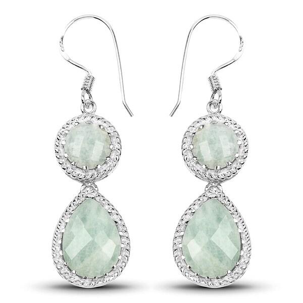 Malaika 925 Sterling Silver 11 82 Carat Genuine Aquamarine Earrings
