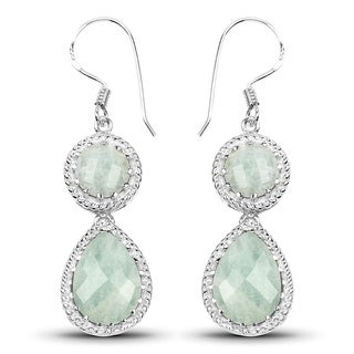 Malaika .925 Sterling Silver 11.82-carat Genuine Aquamarine Earrings