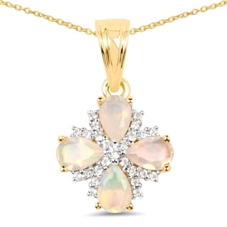 Malaika 14k Yellow Gold-plated .925 Sterling Silver 1.18-carat Genuine Ethiopian Opal and White Topaz Pandent