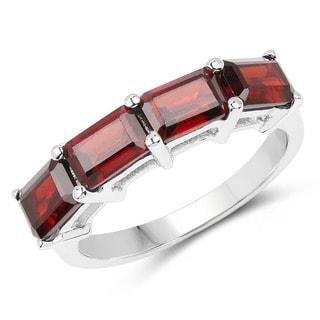 Malaika .925 Sterling Silver 3.20-carat Genuine Garnet Ring