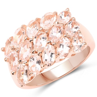 Malaika 18K Rose Gold Plated 3.30 Carat Genuine Morganite .925 Sterling Silver Ring