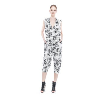 Walter Baker Women's Laverna Grey and White Polyester Printed Jumpsuit