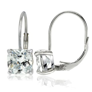 Icz Stonez Sterling Silver 7x7mm Cushion-Cut Cubic Zicronia Leverback Earrings