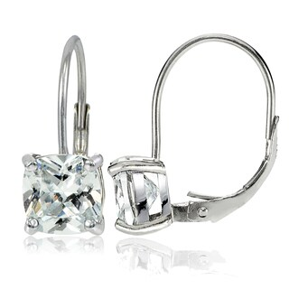 Icz Stonez Sterling Silver 7x7mm Cushion-Cut Cubic Zicronia Leverback Earrings (2 options available)