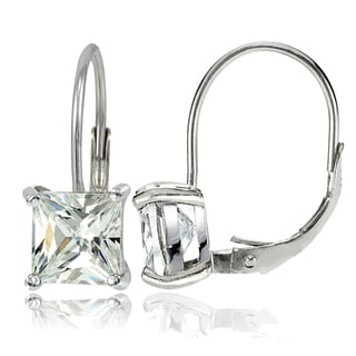 Icz Stonez Sterling Silver 7x7mm Square Cubic Zicronia Leverback Earrings