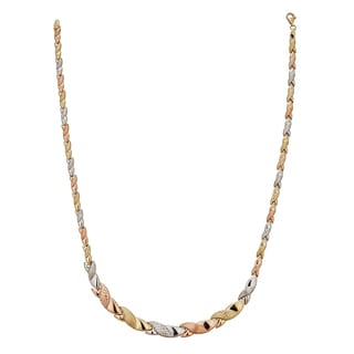 Decadence 14k Tri-color Gold 17-inch High Polished Diamond Cut Braid Detail Necklace