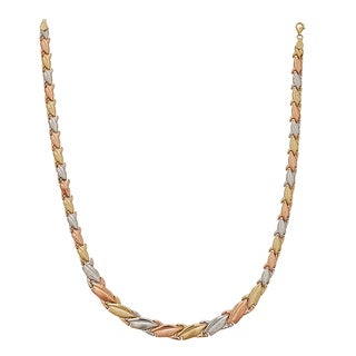 Decadence 14k Tri-color Gold 17-inch High-polished Diamond-cut Acorn Necklace
