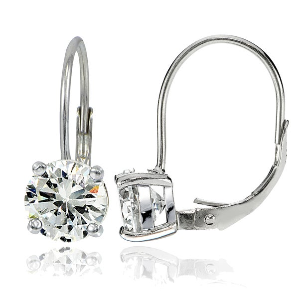 Icz Stonez Silver 7mm Round Cubic Zirconia Leverback Earrings. Opens flyout.