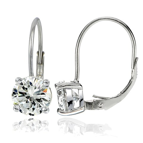 Icz Stonez Silver 7mm Round Cubic Zirconia Leverback Earrings