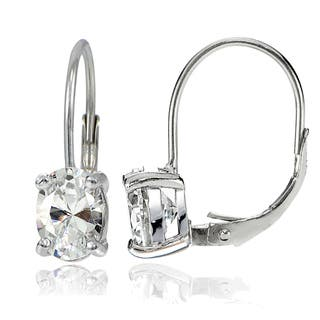 Icz Stonez Silver 8X6mm Oval Cubic Zicronia Leverback Earrings|https://ak1.ostkcdn.com/images/products/12017789/P18893030.jpg?impolicy=medium