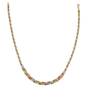 Decadence 14k Tri-color Gold High-polished Diamond-cut Assymetrical Cross Link 17-inch Necklace