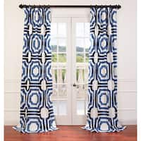 """Exclusive Fabrics Mecca Printed Cotton Curtain Panel 96"""" in Blue (As Is Item)"""