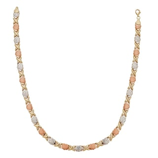 Decadence 14k Tri-color Gold Satin Textured Diamond-cut XOXO Necklace