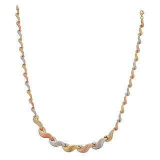 Decadence 14k Tri-color Gold High-polished Diamond-cut Tidal Wave 17-inch Necklace