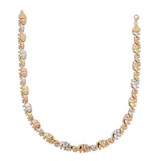 Decadence 14k Tri-color Gold DC Textured Mommy and Baby Elephant 17-inch Necklace